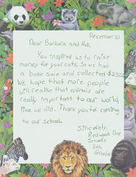 letter from a student who raised money for WCE&CF with a bake sale